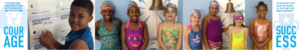 Swim School students by the SwimRVA bell of success
