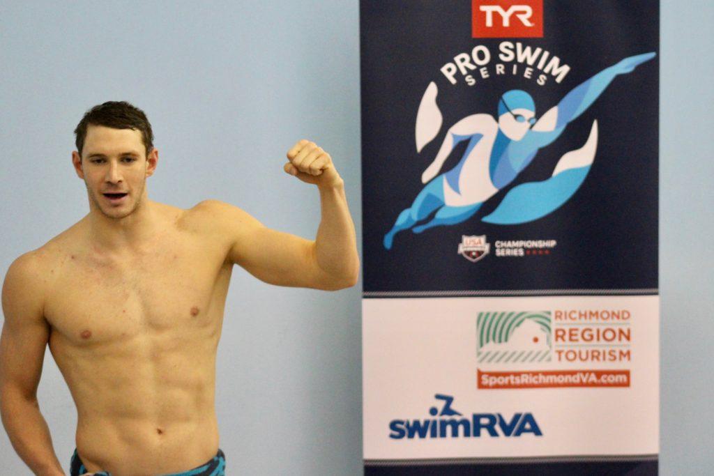 Ryan Murphy speaking at the TYR Pro Swim Series Media Day in Richmond