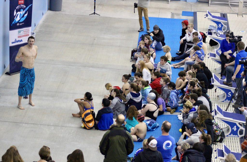 Ryan Murphy speaking to SwimRVA Rapids at the TYR Pro Swim Series Media Day in Richmond